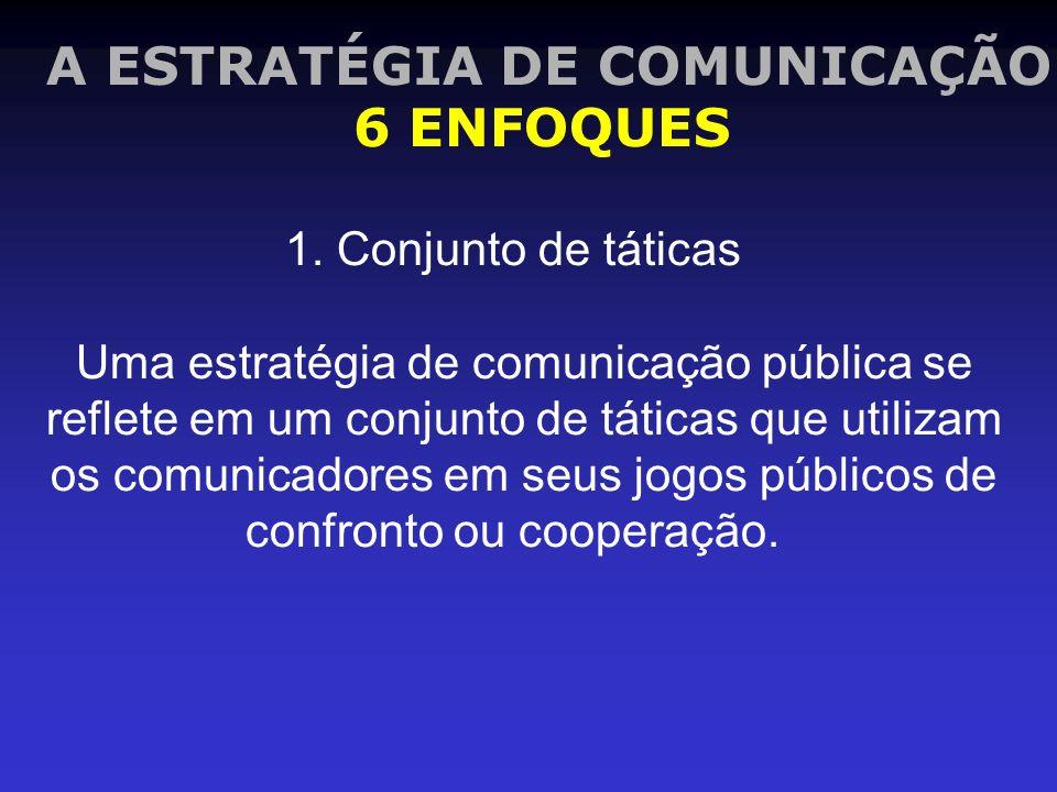 1. Conjunto de táticas Uma estratégia de comunicação pública se reflete em um conjunto de táticas que utilizam os comunicadores em seus jogos públicos