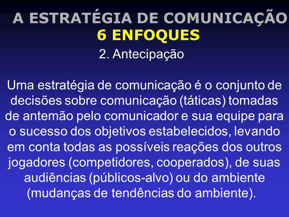 A ESTRATÉGIA DE COMUNICAÇÃO 6 ENFOQUES 2. Antecipação Uma estratégia de comunicação é o conjunto de decisões sobre comunicação (táticas) tomadas de an