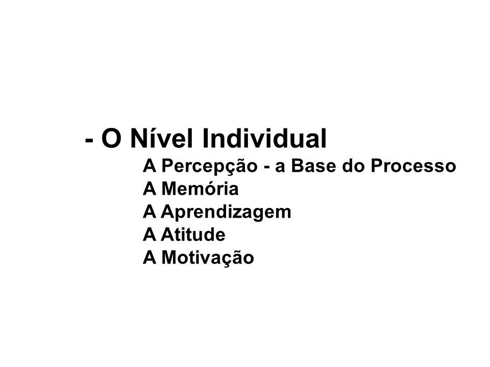 - O Nível Individual A Percepção - a Base do Processo A Memória A Aprendizagem A Atitude A Motivação