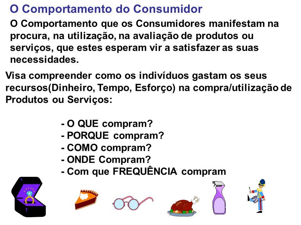 O Comportamento do Consumidor O Comportamento que os Consumidores manifestam na procura, na utilização, na avaliação de produtos ou serviços, que este