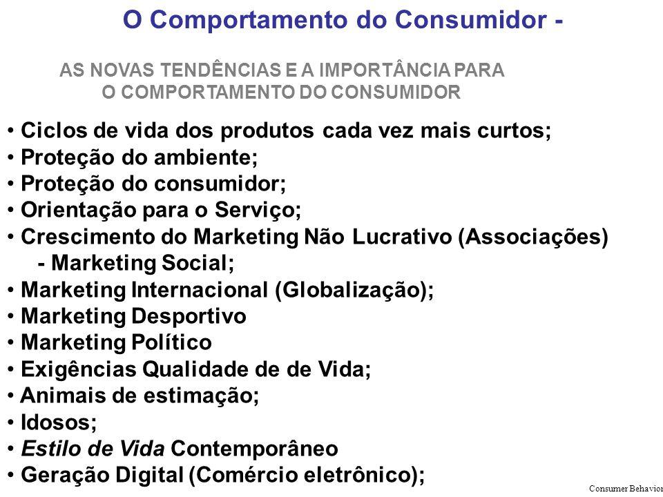 O Comportamento do Consumidor - AS NOVAS TENDÊNCIAS E A IMPORTÂNCIA PARA O COMPORTAMENTO DO CONSUMIDOR Ciclos de vida dos produtos cada vez mais curto