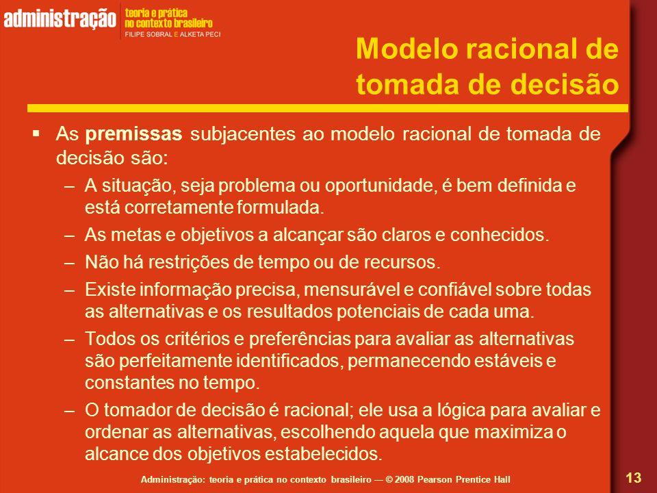 Administração: teoria e prática no contexto brasileiro © 2008 Pearson Prentice Hall Modelo racional de tomada de decisão As premissas subjacentes ao m