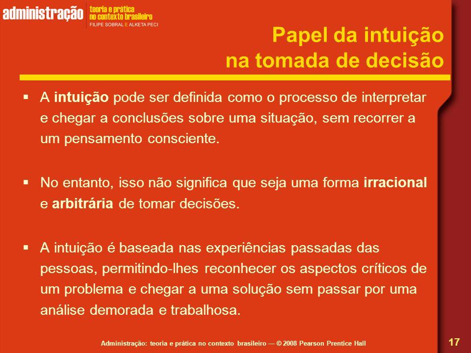 Administração: teoria e prática no contexto brasileiro © 2008 Pearson Prentice Hall Papel da intuição na tomada de decisão A intuição pode ser definid