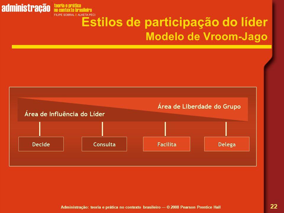 Administração: teoria e prática no contexto brasileiro © 2008 Pearson Prentice Hall Estilos de participação do líder Modelo de Vroom-Jago 22