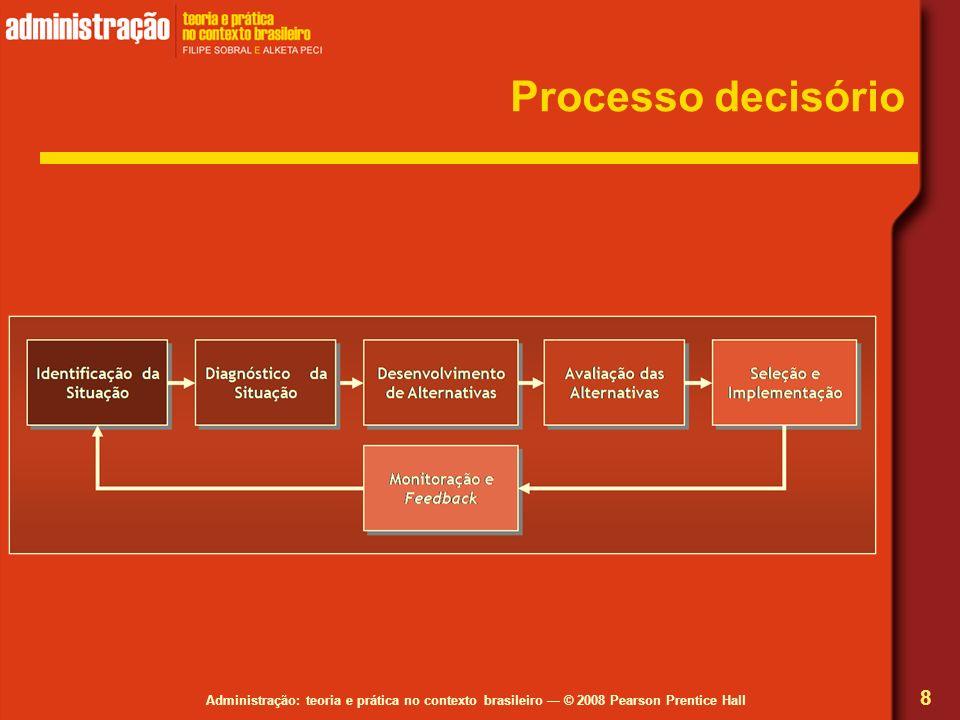 Administração: teoria e prática no contexto brasileiro © 2008 Pearson Prentice Hall Processo decisório 8