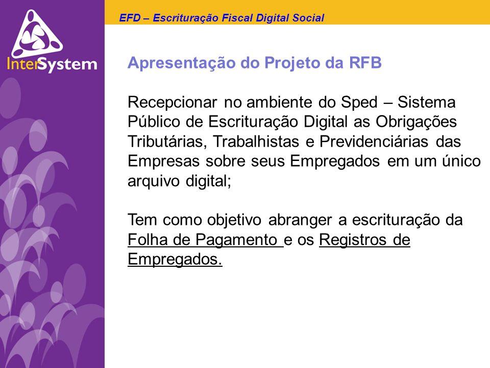 Apresentação do Projeto da RFB Recepcionar no ambiente do Sped – Sistema Público de Escrituração Digital as Obrigações Tributárias, Trabalhistas e Pre