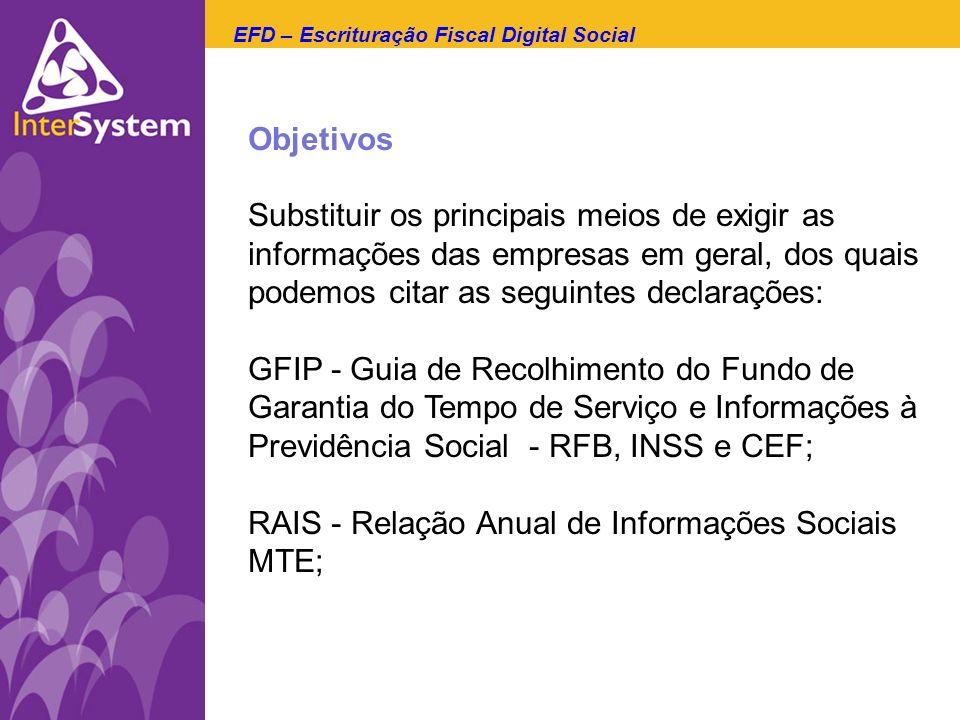Objetivos Substituir os principais meios de exigir as informações das empresas em geral, dos quais podemos citar as seguintes declarações: GFIP - Guia