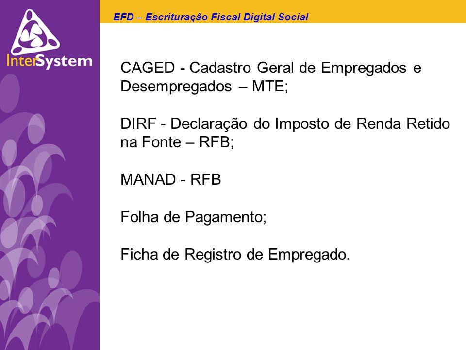 CAGED - Cadastro Geral de Empregados e Desempregados – MTE; DIRF - Declaração do Imposto de Renda Retido na Fonte – RFB; MANAD - RFB Folha de Pagament
