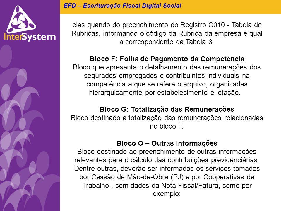 EFD – Escrituração Fiscal Digital Social elas quando do preenchimento do Registro C010 - Tabela de Rubricas, informando o código da Rubrica da empresa