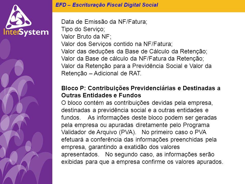 EFD – Escrituração Fiscal Digital Social Data de Emissão da NF/Fatura; Tipo do Serviço; Valor Bruto da NF; Valor dos Serviços contido na NF/Fatura; Va