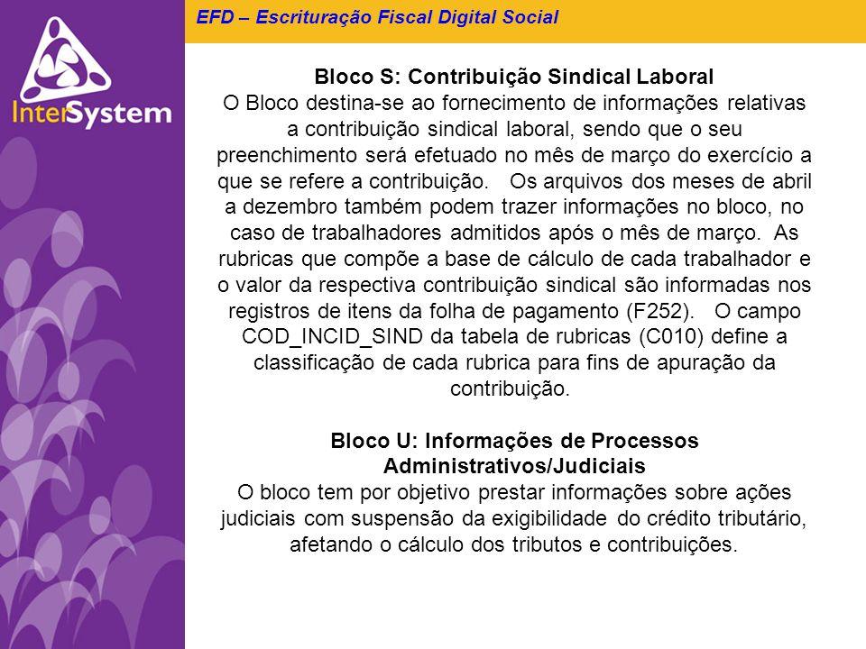 EFD – Escrituração Fiscal Digital Social Bloco S: Contribuição Sindical Laboral O Bloco destina-se ao fornecimento de informações relativas a contribu