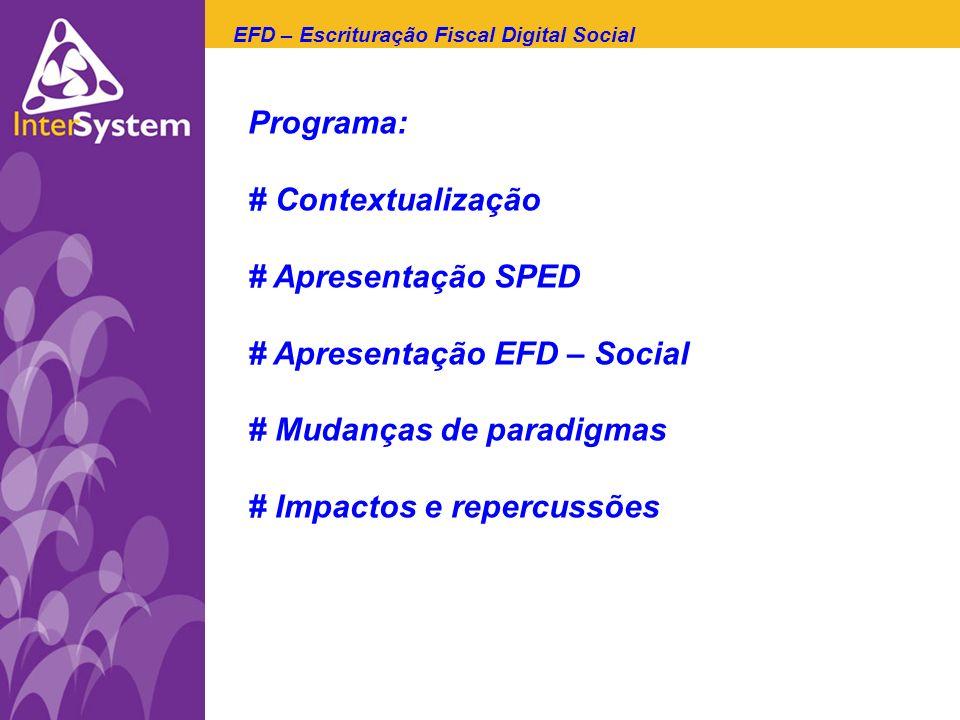 Programa: # Contextualização # Apresentação SPED # Apresentação EFD – Social # Mudanças de paradigmas # Impactos e repercussões EFD – Escrituração Fis