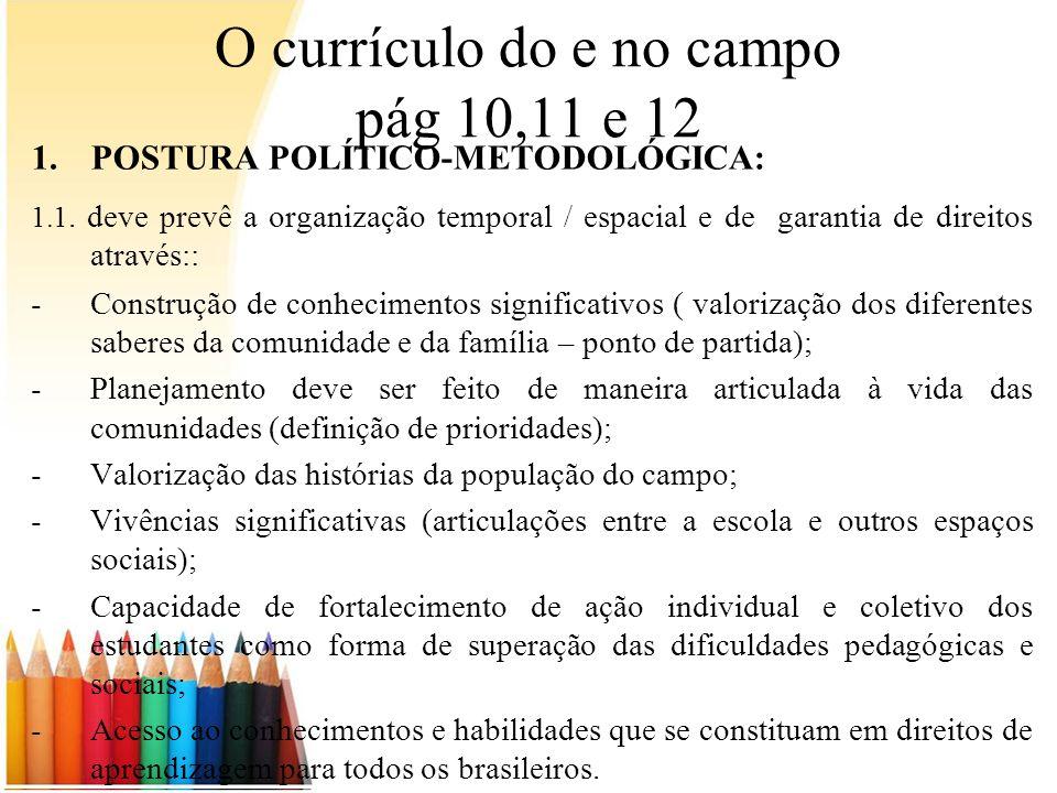 O currículo do e no campo pág 10,11 e 12 1.POSTURA POLÍTICO-METODOLÓGICA: 1.1. deve prevê a organização temporal / espacial e de garantia de direitos