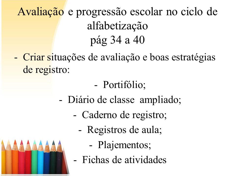 Avaliação e progressão escolar no ciclo de alfabetização pág 34 a 40 -Criar situações de avaliação e boas estratégias de registro: -Portifólio; -Diári