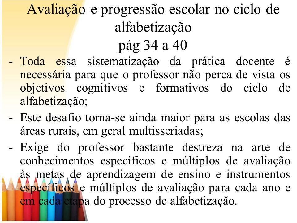 Avaliação e progressão escolar no ciclo de alfabetização pág 34 a 40 -Toda essa sistematização da prática docente é necessária para que o professor nã