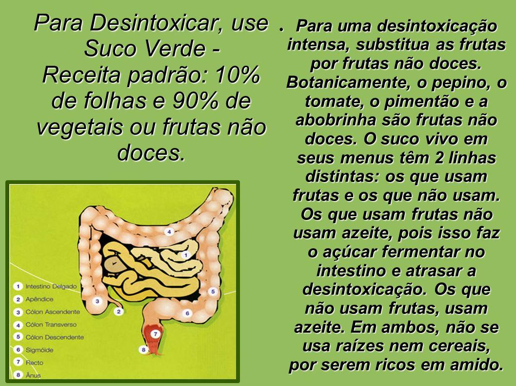 Para Desintoxicar, use Suco Verde - Receita padrão: 10% de folhas e 90% de vegetais ou frutas não doces. Para uma desintoxicação intensa, substitua as