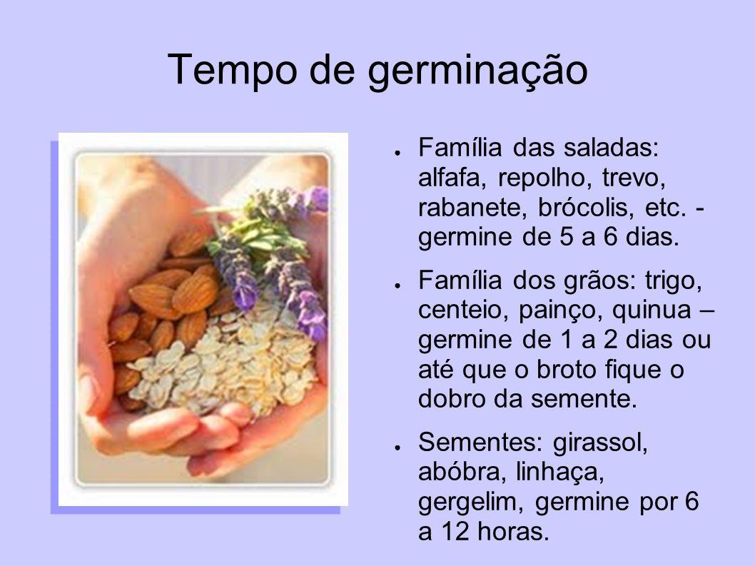 Tempo de germinação Família das saladas: alfafa, repolho, trevo, rabanete, brócolis, etc. - germine de 5 a 6 dias. Família dos grãos: trigo, centeio,