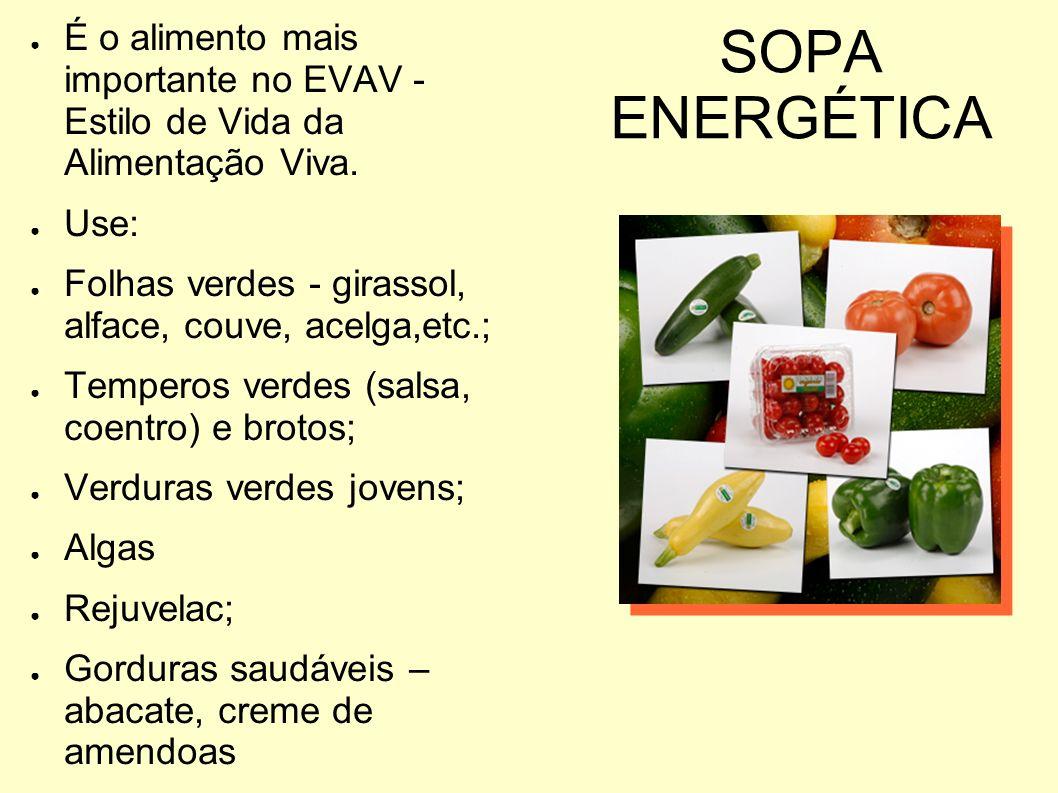 SOPA ENERGÉTICA É o alimento mais importante no EVAV - Estilo de Vida da Alimentação Viva. Use: Folhas verdes - girassol, alface, couve, acelga,etc.;