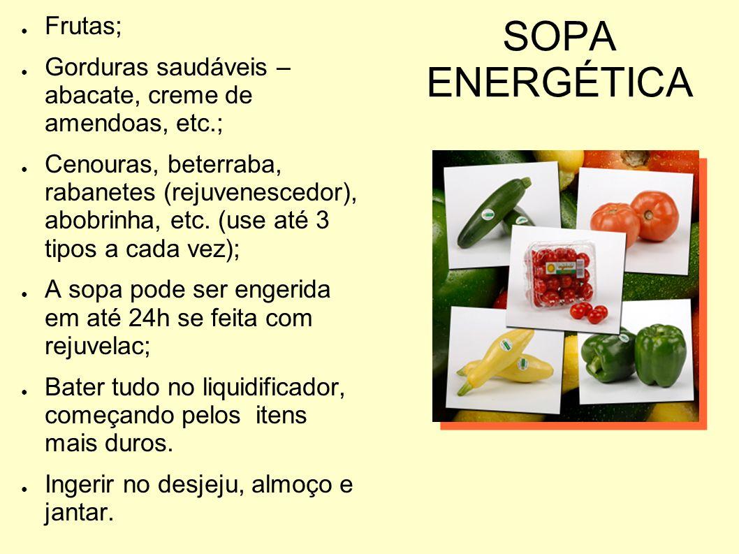 SOPA ENERGÉTICA Frutas; Gorduras saudáveis – abacate, creme de amendoas, etc.; Cenouras, beterraba, rabanetes (rejuvenescedor), abobrinha, etc. (use a