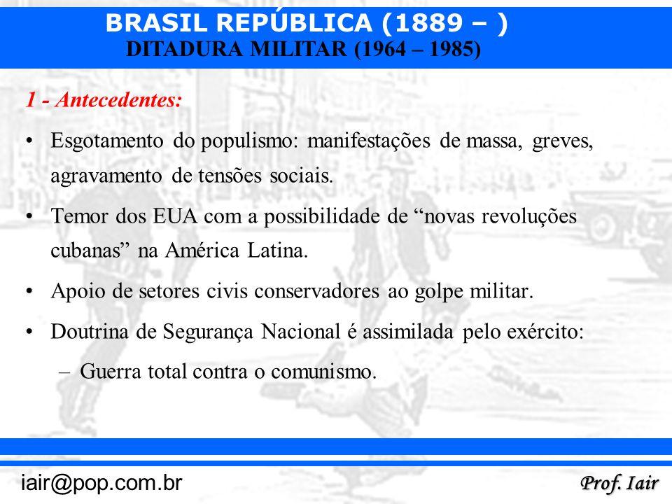 BRASIL REPÚBLICA (1889 – ) Prof. Iair iair@pop.com.br DITADURA MILITAR (1964 – 1985) 1 - Antecedentes: Esgotamento do populismo: manifestações de mass