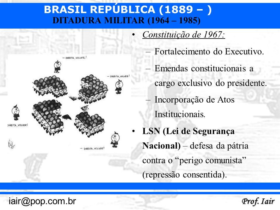 BRASIL REPÚBLICA (1889 – ) Prof. Iair iair@pop.com.br DITADURA MILITAR (1964 – 1985) Constituição de 1967: –Fortalecimento do Executivo. –Emendas cons