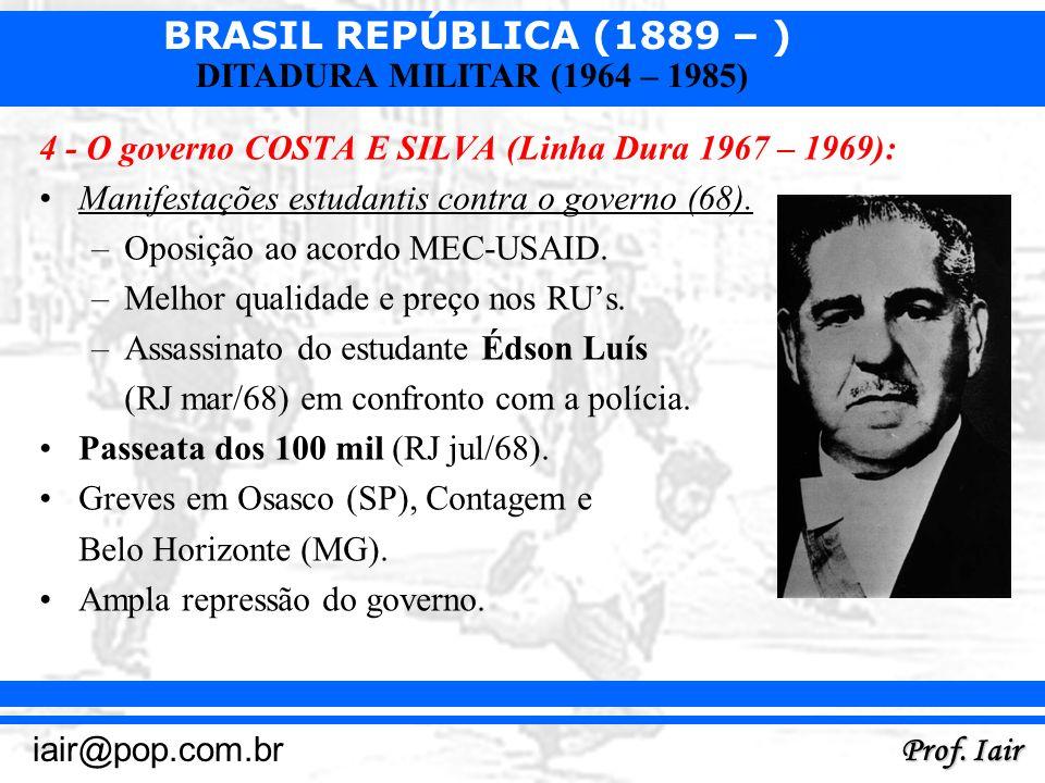 BRASIL REPÚBLICA (1889 – ) Prof. Iair iair@pop.com.br DITADURA MILITAR (1964 – 1985) 4 - O governo COSTA E SILVA (Linha Dura 1967 – 1969): Manifestaçõ