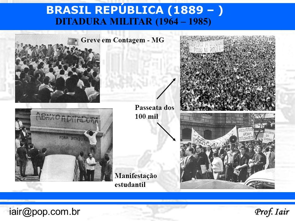 BRASIL REPÚBLICA (1889 – ) Prof. Iair iair@pop.com.br DITADURA MILITAR (1964 – 1985) Greve em Contagem - MG Passeata dos 100 mil Manifestação estudant