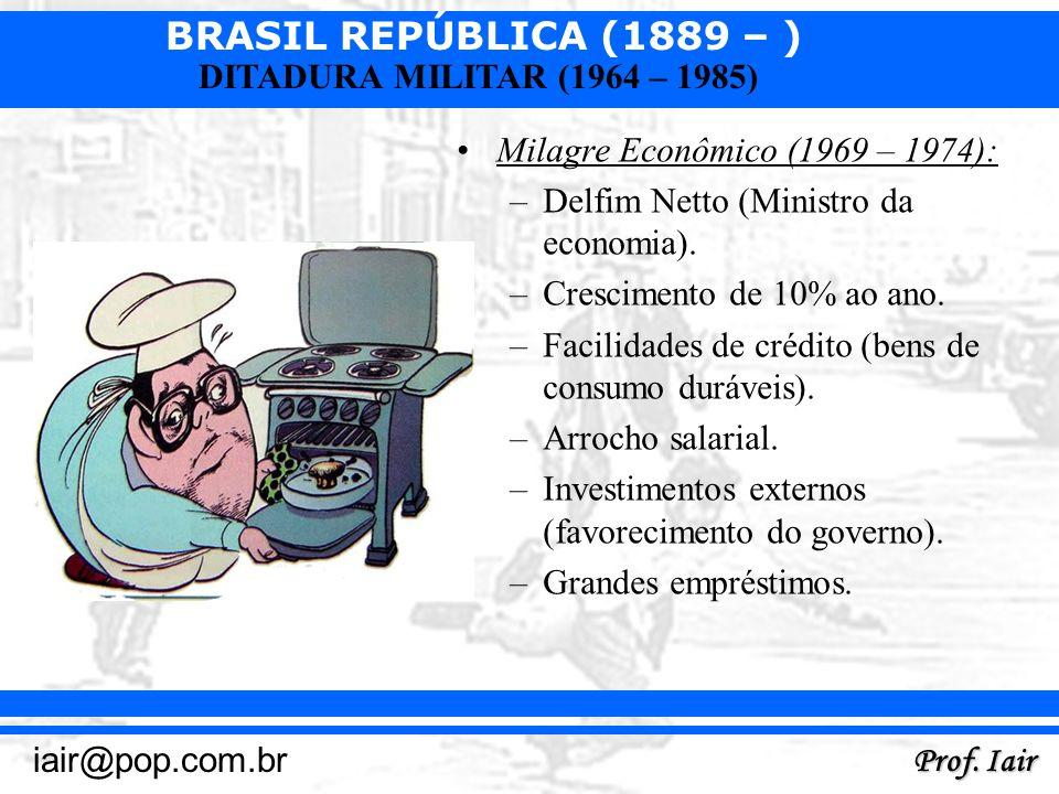 BRASIL REPÚBLICA (1889 – ) Prof. Iair iair@pop.com.br DITADURA MILITAR (1964 – 1985) Milagre Econômico (1969 – 1974): –Delfim Netto (Ministro da econo