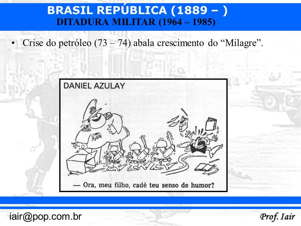 BRASIL REPÚBLICA (1889 – ) Prof. Iair iair@pop.com.br DITADURA MILITAR (1964 – 1985) Crise do petróleo (73 – 74) abala crescimento do Milagre.