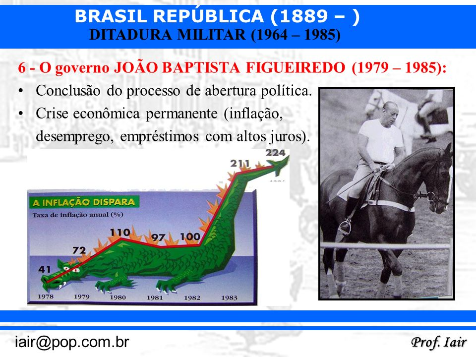 BRASIL REPÚBLICA (1889 – ) Prof. Iair iair@pop.com.br DITADURA MILITAR (1964 – 1985) 6 - O governo JOÃO BAPTISTA FIGUEIREDO (1979 – 1985): Conclusão d