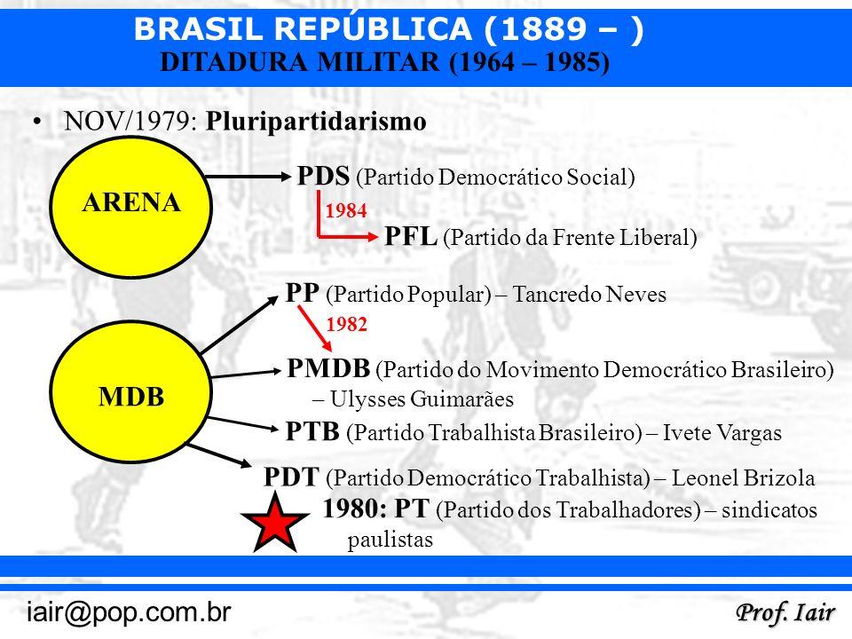 BRASIL REPÚBLICA (1889 – ) Prof. Iair iair@pop.com.br DITADURA MILITAR (1964 – 1985) NOV/1979: Pluripartidarismo ARENA MDB PDS (Partido Democrático So