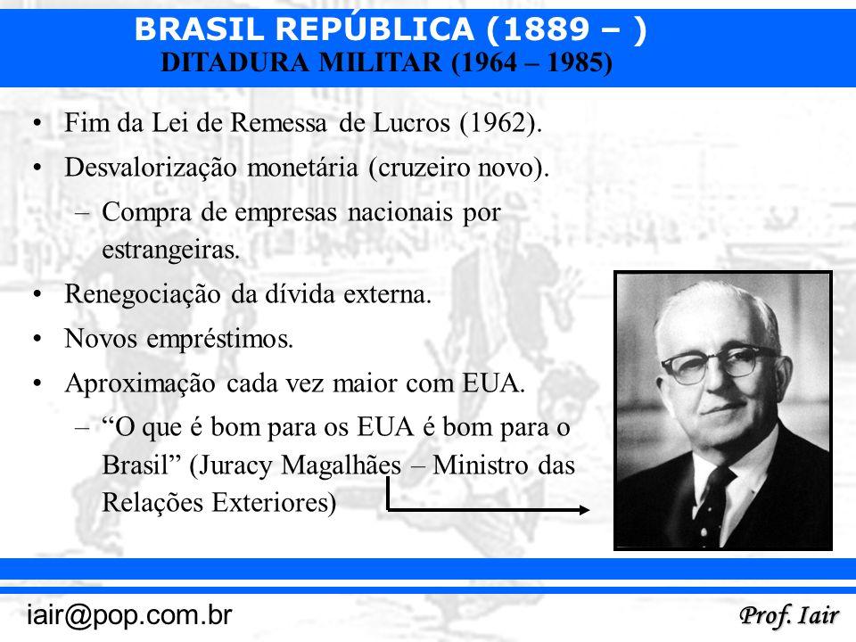 BRASIL REPÚBLICA (1889 – ) Prof. Iair iair@pop.com.br DITADURA MILITAR (1964 – 1985) Fim da Lei de Remessa de Lucros (1962). Desvalorização monetária