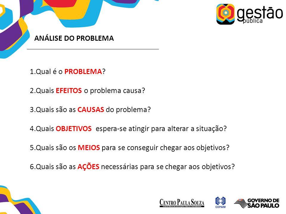 ANÁLISE DO PROBLEMA 1.Qual é o PROBLEMA.2.Quais EFEITOS o problema causa.