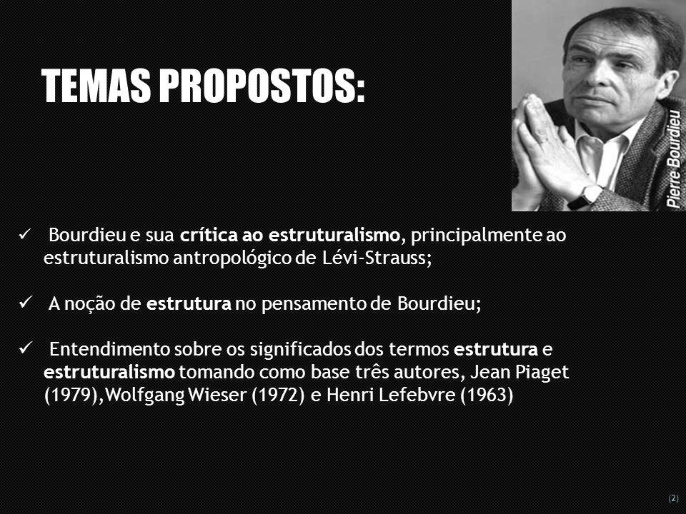 (3) BOURDIEU X ESTRUTURALISTAS Les Sens Pratique (1980), desenvolve a sua teoria da prática, a partir de sua crítica, baseada na sua experiência pessoal de pesquisa, partindo do ponto de vista estruturalista ao estruturalismo antropológico