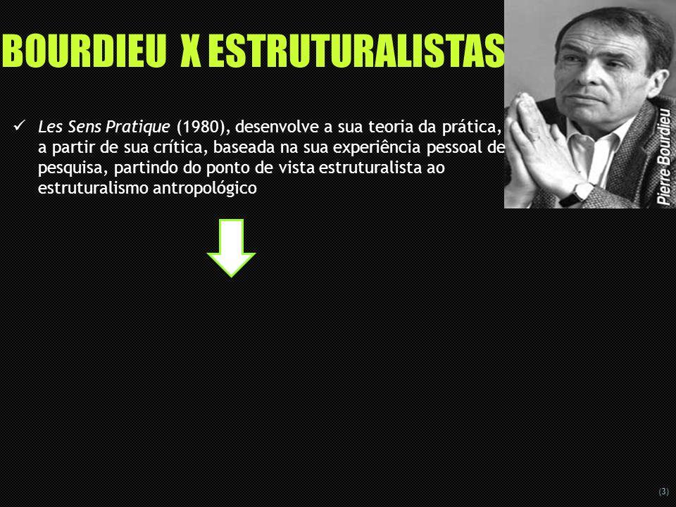 (3) BOURDIEU X ESTRUTURALISTAS Les Sens Pratique (1980), desenvolve a sua teoria da prática, a partir de sua crítica, baseada na sua experiência pesso