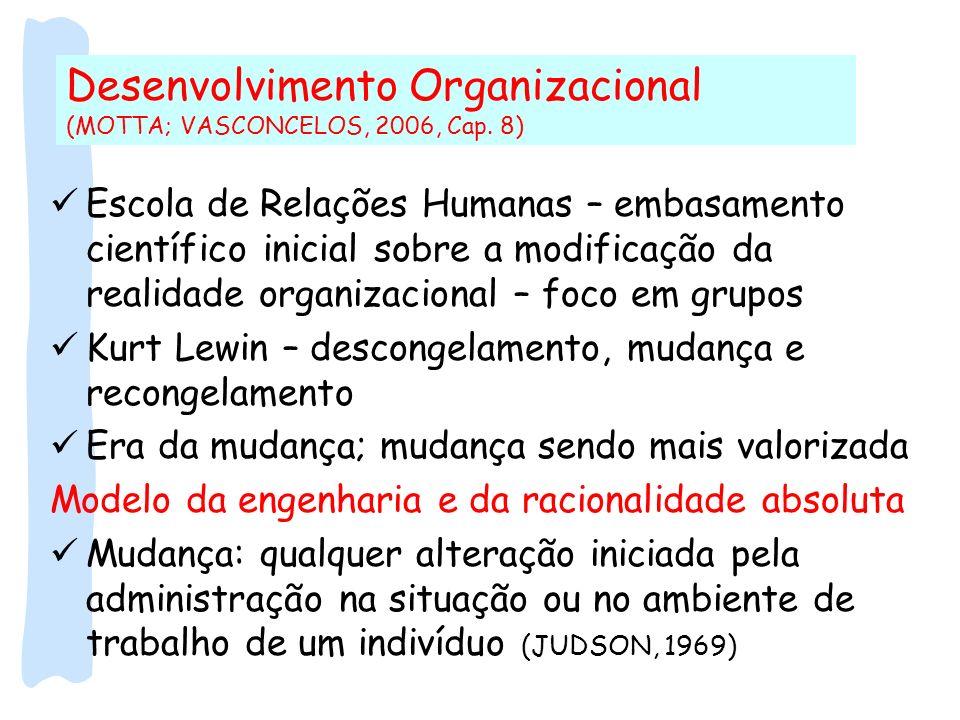 Desenvolvimento Organizacional (MOTTA; VASCONCELOS, 2006, Cap. 8) Escola de Relações Humanas – embasamento científico inicial sobre a modificação da r