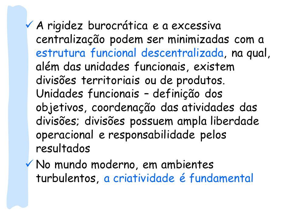 A rigidez burocrática e a excessiva centralização podem ser minimizadas com a estrutura funcional descentralizada, na qual, além das unidades funciona