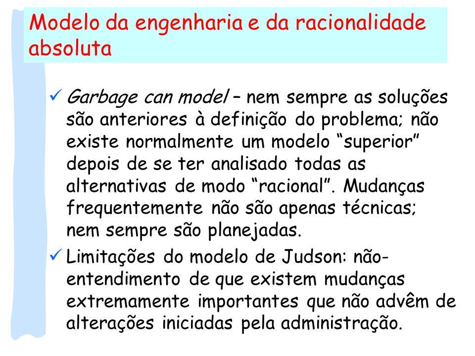 Modelo da engenharia e da racionalidade absoluta Garbage can model – nem sempre as soluções são anteriores à definição do problema; não existe normalm