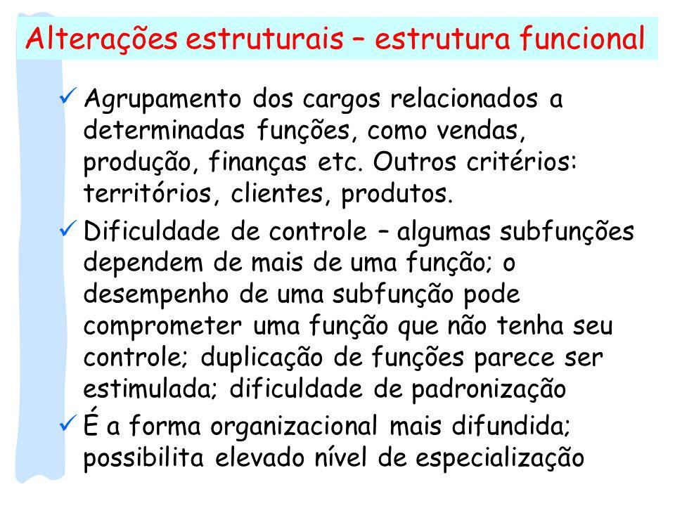 Alterações estruturais – estrutura funcional Agrupamento dos cargos relacionados a determinadas funções, como vendas, produção, finanças etc. Outros c