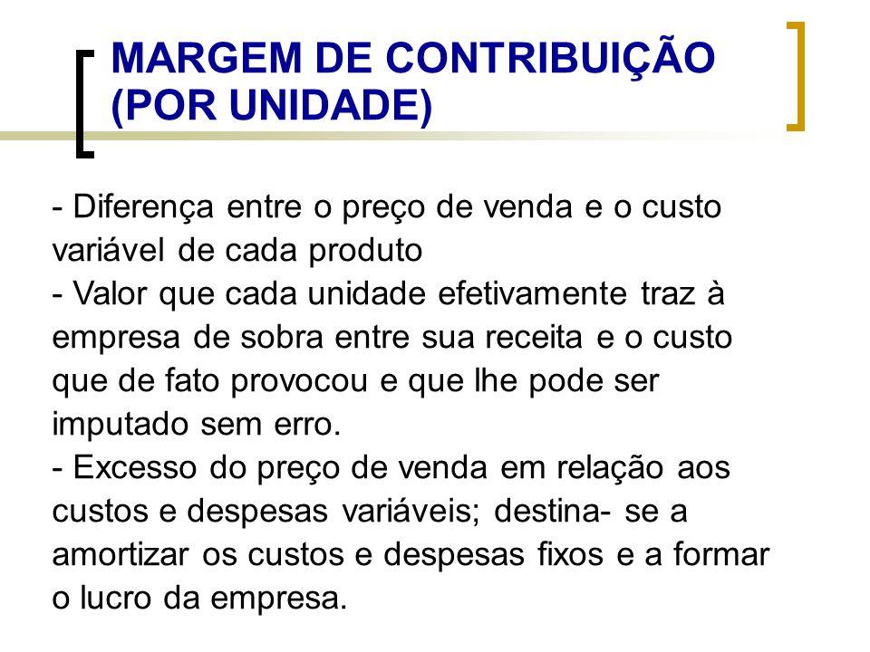 MARGEM DE CONTRIBUIÇÃO POR UNIDADE MC/und = PV - CDV