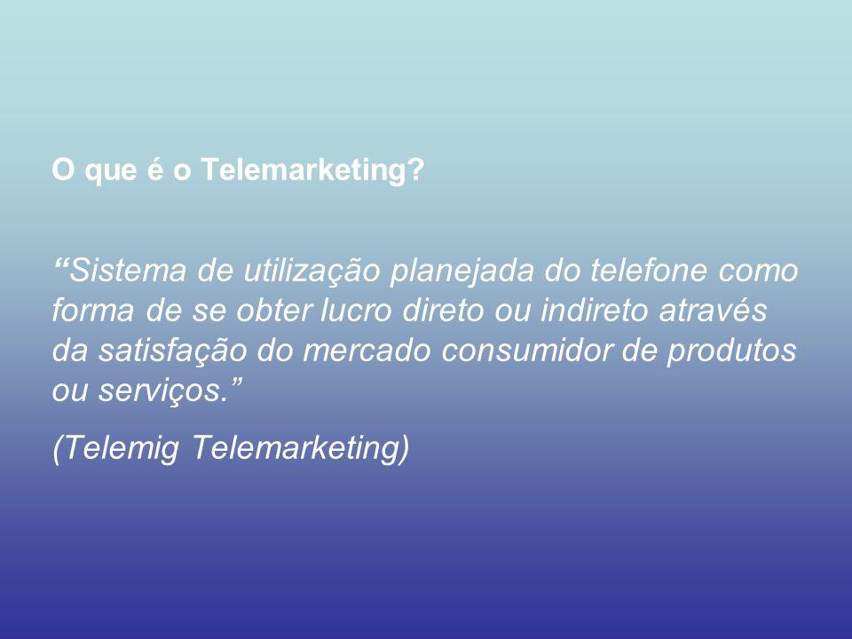 O que é o Telemarketing?Sistema de utilização planejada do telefone como forma de se obter lucro direto ou indireto através da satisfação do mercado c