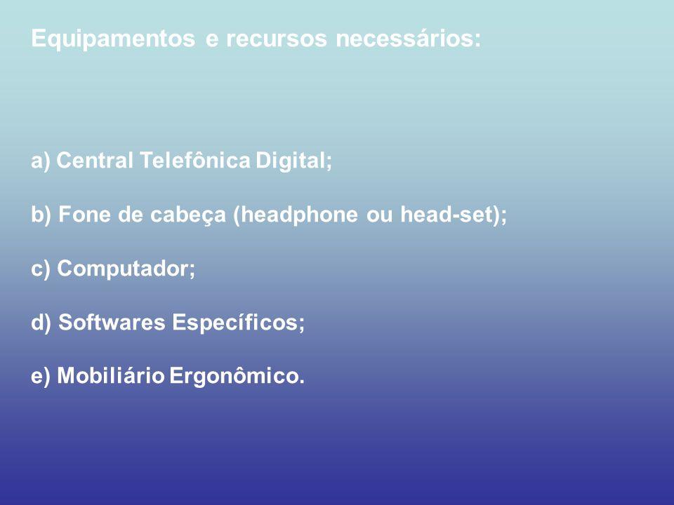 Equipamentos e recursos necessários: a)Central Telefônica Digital; b) Fone de cabeça (headphone ou head-set); c) Computador; d) Softwares Específicos;