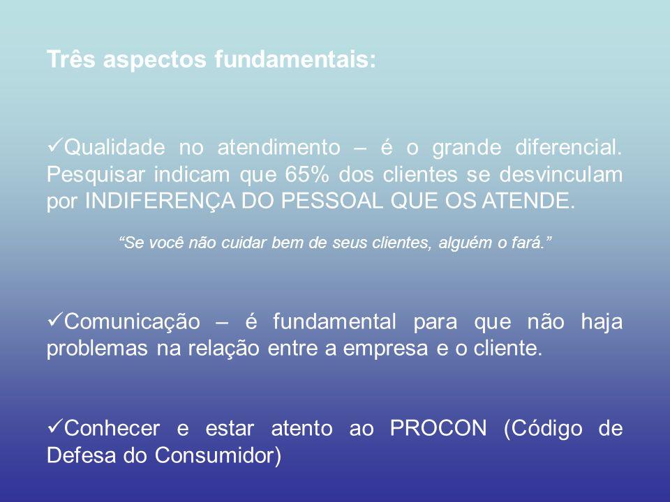 Três aspectos fundamentais: Qualidade no atendimento – é o grande diferencial. Pesquisar indicam que 65% dos clientes se desvinculam por INDIFERENÇA D