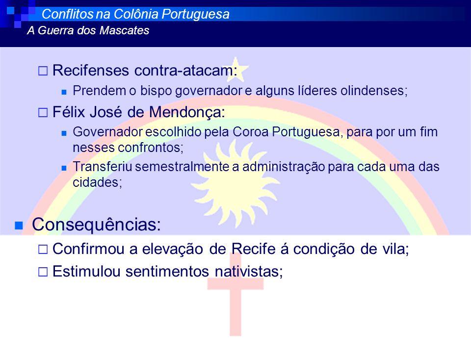 Recifenses contra-atacam: Prendem o bispo governador e alguns líderes olindenses; Félix José de Mendonça: Governador escolhido pela Coroa Portuguesa,