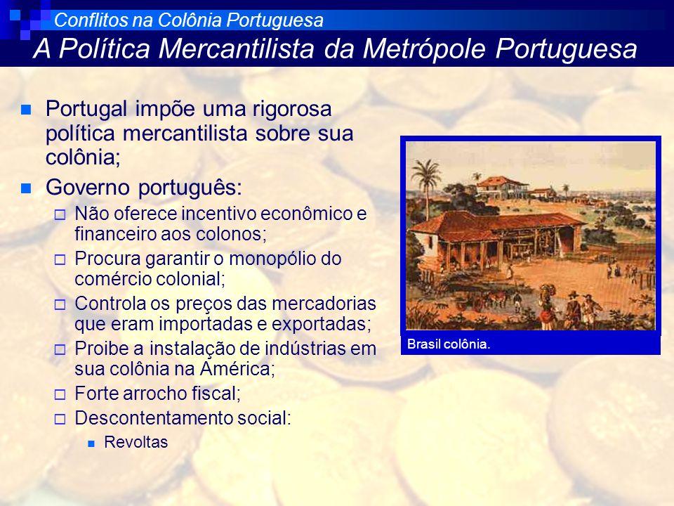 Portugal impõe uma rigorosa política mercantilista sobre sua colônia; Governo português: Não oferece incentivo econômico e financeiro aos colonos; Pro