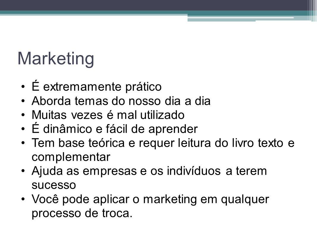 Marketing É extremamente prático Aborda temas do nosso dia a dia Muitas vezes é mal utilizado É dinâmico e fácil de aprender Tem base teórica e requer