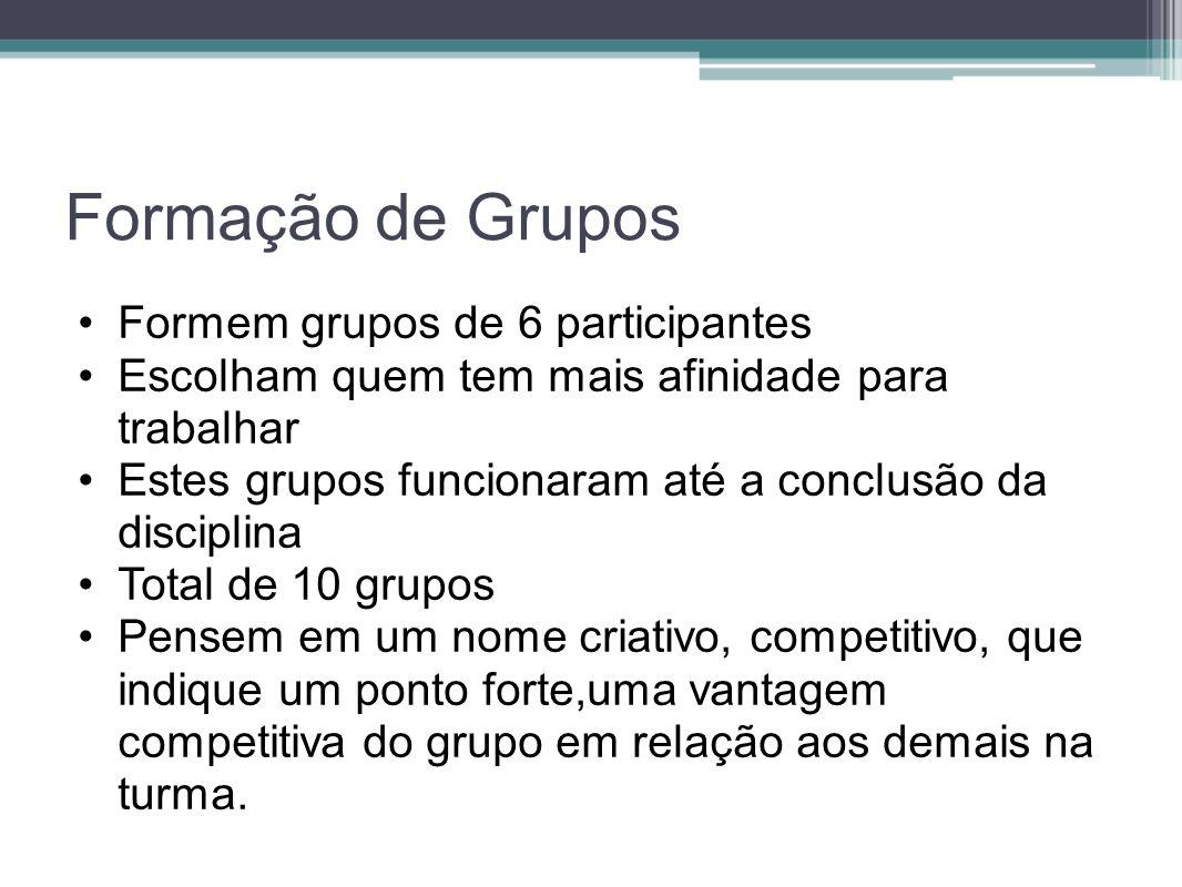Formação de Grupos Formem grupos de 6 participantes Escolham quem tem mais afinidade para trabalhar Estes grupos funcionaram até a conclusão da discip