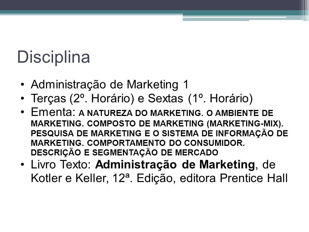 Disciplina Administração de Marketing 1 Terças (2º. Horário) e Sextas (1º. Horário) Ementa: A NATUREZA DO MARKETING. O AMBIENTE DE MARKETING. COMPOSTO