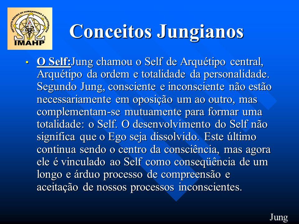 Conceitos Jungianos O Self:Jung chamou o Self de Arquétipo central, Arquétipo da ordem e totalidade da personalidade. Segundo Jung, consciente e incon