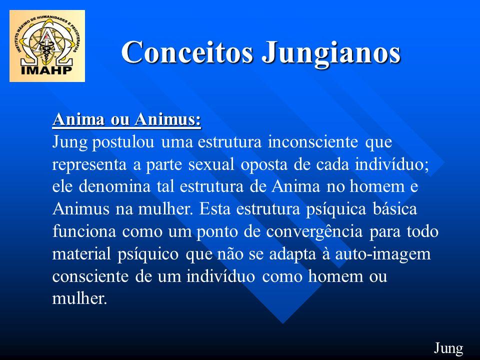 Conceitos Jungianos Anima ou Animus: Anima ou Animus: Jung postulou uma estrutura inconsciente que representa a parte sexual oposta de cada indivíduo;